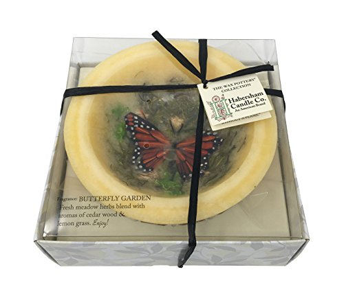 Habersham Candle Wax Pottery Large Vessel, 7-Inch Diameter with Black Stand, Butterfly Garden by Habersham Candle Co. (Image #1)