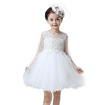 XIU*RONG Vestidos De Niñas En Primavera Y Verano Para Niños Vestidos Vestido Blanco Y