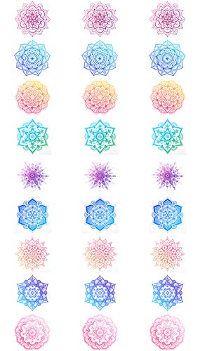 Fiomia Buddhist Mandala Temporary Tattoo Sticker Face Decal Body Glitter Yoga Template Waterproof Removable - Chakras Mandala