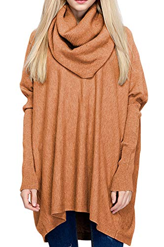 BOBIBI Women Oversized Cowl Neck Sweaters Long Sleeve Loose Fit Knitted Pullover,Caramel