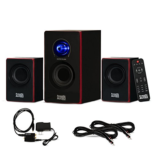 Acoustic Audio AA2103 Bluetooth Home 2.1 Speaker System with Optical Input and 2 Extension Cables