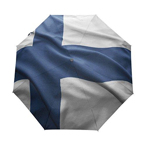- super3Dprinted Finland Flag UPF 50+ Anti-UV Parasol Rainproof Windproof 3 Folding Auto Open Close Umbrella