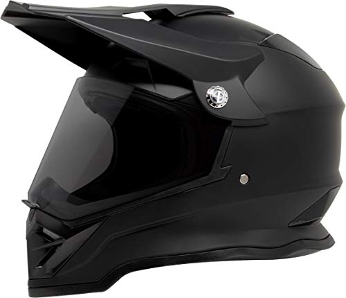 GDM DK-650 Dual Sport Offroad Dirt Bike MX Motocross Helmet with Clear & Tinted Visors - Matte Black, Small