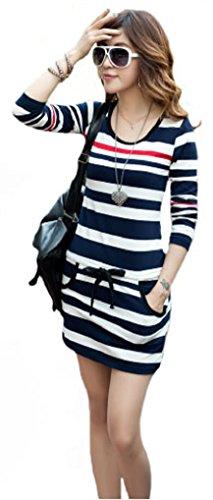 V28 Women Black White Blue Striped Drawstring Mini Tee Dress (M: US 4, Blue-White-Striped-LongSleeves)