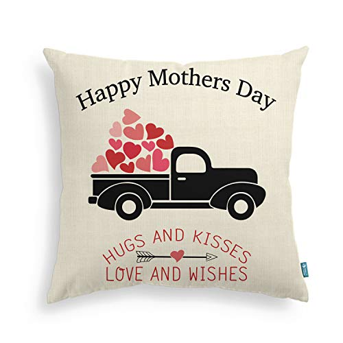 AVOIN Happy Mothers Day Pillow Cover Truck Love Heart Arrow Linen Decorative Throw Pillowcase | 18 x 18 Inch Grandma Mother in Law Thanksgiving Christmas Birthday Gift for Sofa Couch
