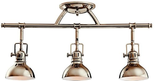 Kichler 7050PN Rail Light 3-Light Halogen, Polished Nickel (Light Rail Directional Three)