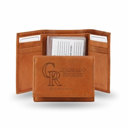 Embossed Genuine Cowhide Leather Trifold Wallet (Colorado Rockies Mlb Leather)