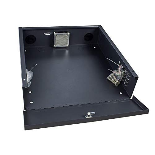 Wall or Floor Mount Enclosure Heavy Duty 16 Gauge Steel NVR & DVR Security Lockbox with AC Fan (15 x 15 x 5 Inches)
