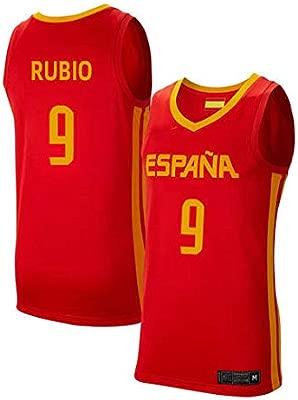K&Q Camiseta Ricky Rubio Selección Española Baloncesto Rojo 2019 Hombre