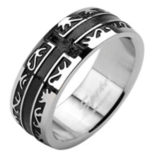 Fantasy Forge Jewelry Victorian Style Cross Ring Stainless Steel 6mm Comfort Fit Band Gothic Design Size 7