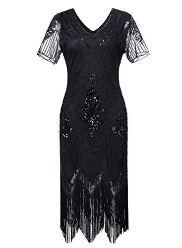 Women 1920s Flapper Dress Vintage - Sequin Fringed Gatsby Dresses Art Decor with Sleeves for Roaring 20s Party (Black, XX-Large) -