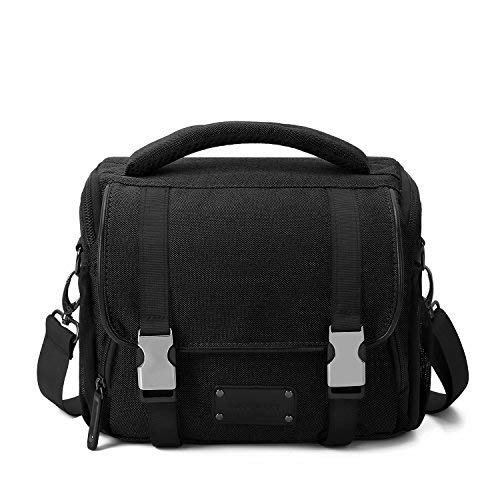 BAGSMART Compact SLR/DSLR Camera Shoulder Bag Camera Case with Waterproof Rain Cover & Trolley Strap Black [並行輸入品] B07H5FZKNJ