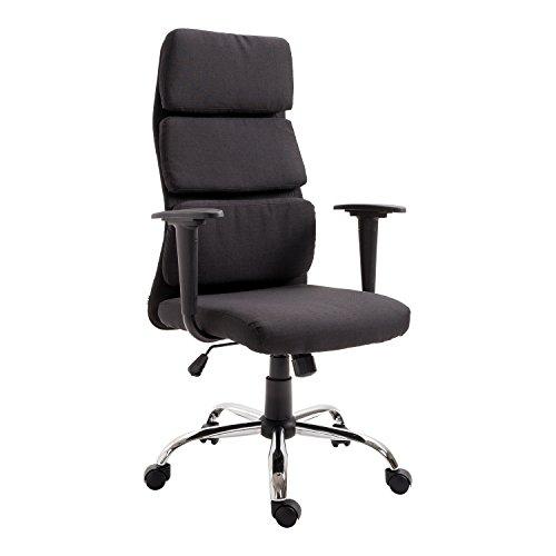 HOMCOM Linen Fabric Office Chair Executive Desk Swivel Armrest Chair Height...