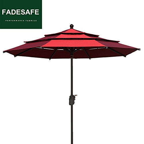 EliteShade 9Ft Patio Outdoor Table Umbrella 3 Layers with Ventilation,Bonus weatherproof Cover (Burgundy) Review