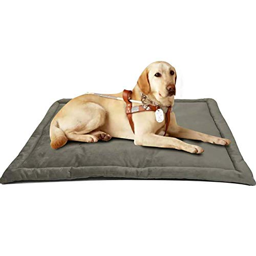 Dog Bed Mat Washable Soft Fleece Crate Pad - Anti-Slip Fleece Kennel Pad for Small Medium Large Pets Mattress