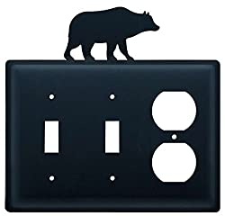 Village Wrought Iron Esso-14 Double Switch & Single Outlet Cover - Bear