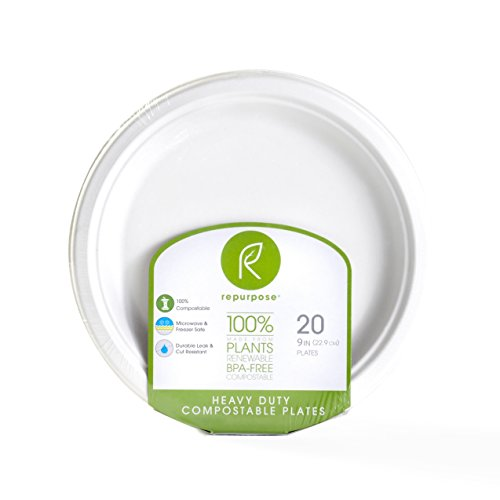 Repurpose 100% Compostable Plant-Based Bagasse Plates, 9 Inch (Pack - 12)