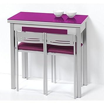Mesa de cocina de 80x40 cm con apertura libro y tapa de cristal ...