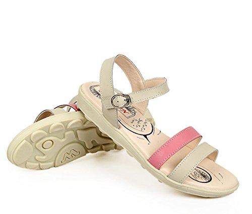 YOUJIA Mujer Casuales Deportivo Cuero PU Plano Sandalias Tira de tobillo Slingback Zapatos Pink