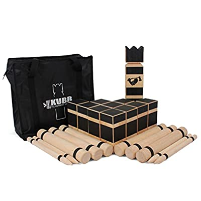 Kubb Game - Viking Chess - Premium Hardwood Kubb Set - Official Tournament Size Kubb Lawn Game - Kubb Original Yard Game - Grown Man Games™ Kubb Tournament Edition