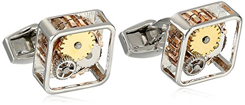 Tateossian Men's Mechanical Silver Rhodium Plated Gear Square Cufflinks
