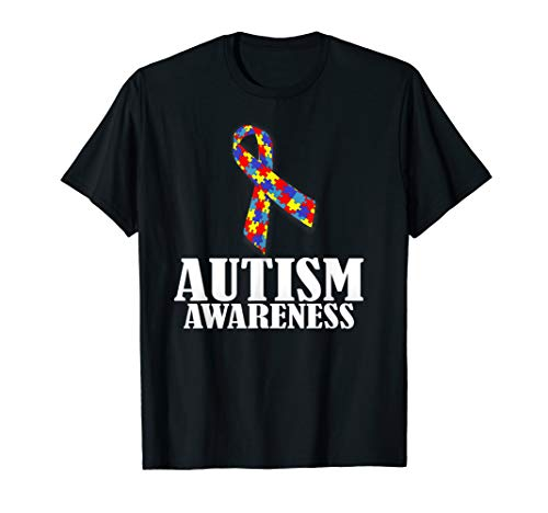 Autism Awareness T-Shirt Ribbon Puzzle Pieces Colors Gift