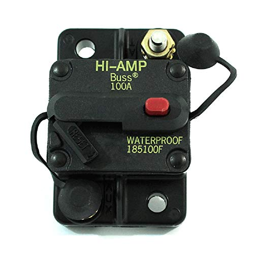 185100F 100A, 42V HI-AMP Thermal Type IP67 Waterproof Circuit Breaker, Type III - PTT (Push to Trip) Switchable, Chassis Mount