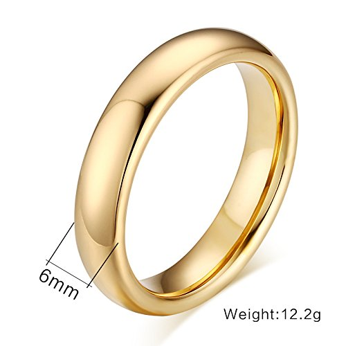 Couples 6mm/4mm Gold Plated-tone Domed High Polished Plain Tungsten Wedding Ring Band for Men&women by Mealguet (Image #4)