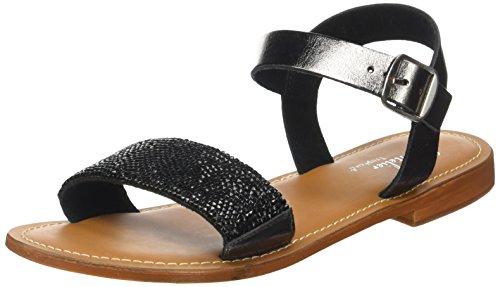 L'ATELIER TROPEZIEN Sandale Perle - Zapatos Mujer Noir (Pewter)