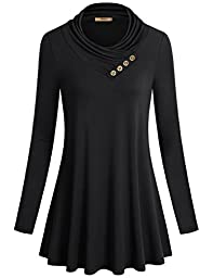 Business Casual Clothes for Women,Miusey Long Sleeve Cowl Neck Loose FitTunic Jersey Shirt Swing Top Black Large