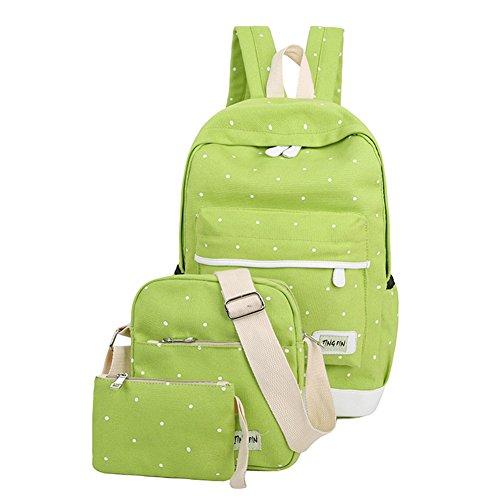 Espeedy Mochila de la escuela,3pcs Las mujeres de lona fresca mochila chica grande libro de estudiantes bolsa con monedero portátil conjunto bolsa de alta calidad de la escuela de las señoras bolsa verde