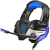 BENGOO K8 Gaming Headset for PS4, Xbox One, PC, Mac, Noise Cancelling Over Ear Headphones with Microphone, Bass Surround Stereo, LED Lights Game Headset for Laptop, Controller, Nintendo Switch Games