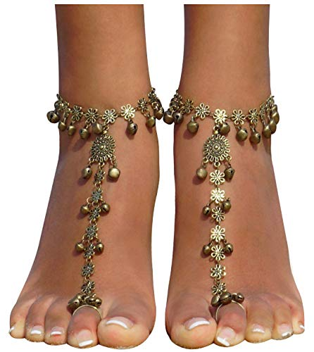 (Bellady 2 Pack Golden Hollow Out Indian Chain with Bell Toe Ring Anklet for Women Beach Party Accessory, Golden Bell)