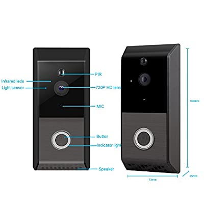 Viewzone Video Doorbell, 720P Wifi Doorbell Camera with PIR Motion Detection Night Vision Two Way Talk, Built in 8G Micro SD Card and Rechargeable Battery, Include Indoor Chime Bell, Black
