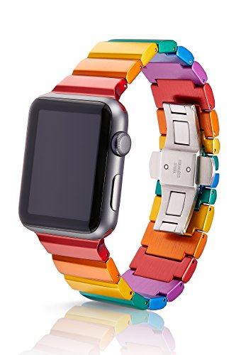 gero Premium Watch Band Made for The Apple Watch, Using Aircraft Grade, Hard Anodized 6000 Series Aluminum with a Solid Stainless Steel Butterfly deployant Buckle (Matte) ()