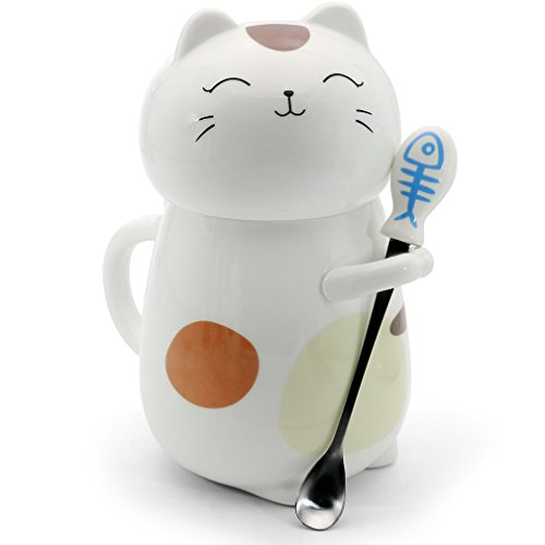 Asmwo Cute 3D Cat Mug Funny Ceramic Coffee Tea Mug with Stirring Spoon and Lid Novelty Birthday Christmas Thanks Giving Gift for Cat Lovers,White 14 oz-C
