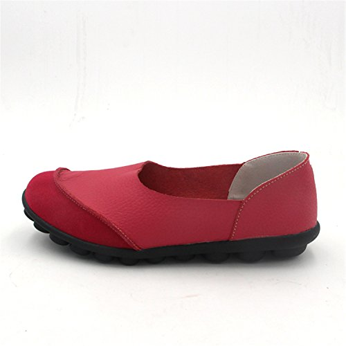 Womens Leather Leather Ballerines Spring Slip Flats Shoes Women's Red on Flat VAO Soft Genuine Wine Beststore s Ballet Z6nfx0p