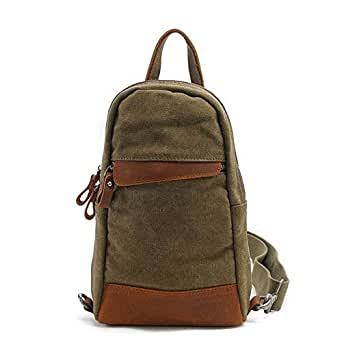 Mens Bag Five Color,Men's Casual Canvas Chest Bag Business Briefcase Handbag Shoulder Bag Travel Sports High capacity (Color : Army green)