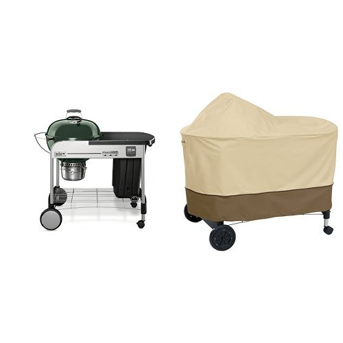 Weber 15407001 Performer Premium Charcoal Grill, 22-Inch, Green with Classic Accessories Cover