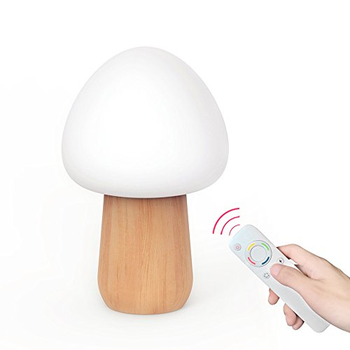 GUORZOM Solid Wood LED Lamp With Remote Control 3 Brightness Levels And 4 Color Adjustable Mushroom Night (Three Modeled Light)