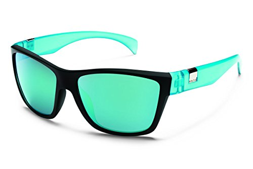 Suncloud Speedtrap Polarized Sunglasses, Matte Black/Teal Frame, Teal Mirror Lens
