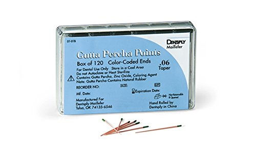 Maillefer 670935 Gutta Percha Point, 0.02 Taper, ISO Size 50 (Pack of 120)