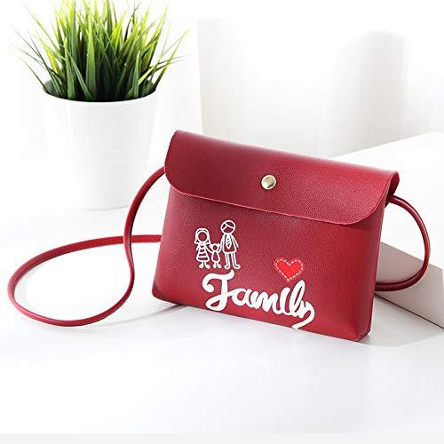 A Unita Clutch Alla Stile Dolce Tracolla Stampa Moda Familiare Di Monocolore Borsa Per Tinta rosso rxt8xS