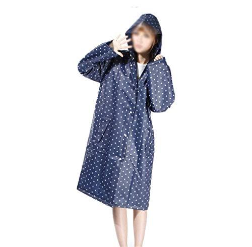 Eva Rosso Pioggia Poncho Lovely Moda Con E Stlie Q Womens Blau Cappuccio Grazioso Impermeabile colore qwxF7Wg1E