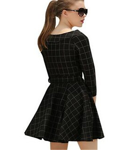 PU&PU Robe Aux femmes Gaine Simple,Damier Col Arrondi Au dessus du genou Polyester , black-one-size , black-one-size