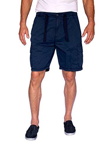 Linen Shirts Cargo - Short Fin 100% Cotton Cargo Shorts with A Drawstring (Navy, Size 36, 8013)