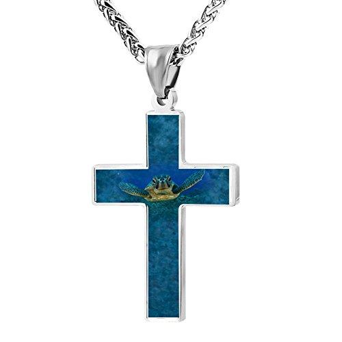 Simple Small Zinc Alloy Religious Cross Necklace For Men Women,Print Turtle Sea Nature Animals Underwater
