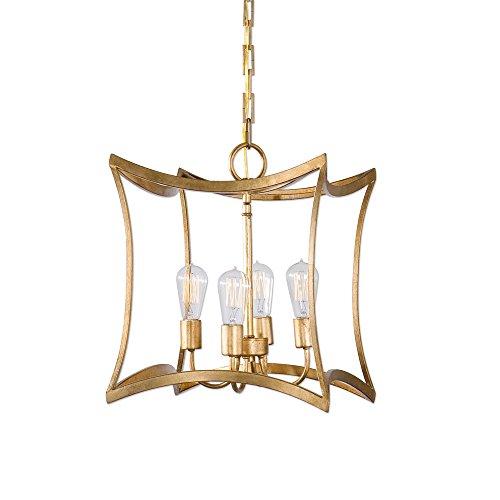 Mid Century Modern Gold Open Square Pendant | 4 Light Lantern Arch Chandelier Arch 4 Light Chandelier