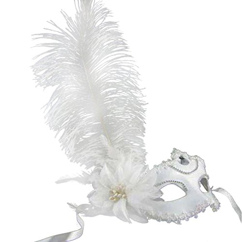 Beauty Feather Woen's Party Masquerade Mask Cosplay Venetian Mask, One Size (White) (Feather Gras Mask White Mardi)