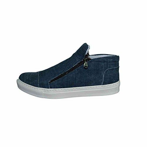 Sneakers slip on uomo color jeansato denim vera pelle made in italy fondo antiscivolo